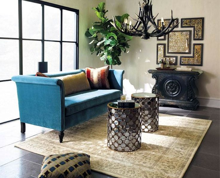 Ecletic Living Room Design with Cool Blue Sofa Ideas