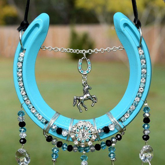 Horseshoe Crystal And Beaded Suncatcher Horseshoe Art Horse Shoe Horseshoe Art Horse Etsy Horseshoe Crafts