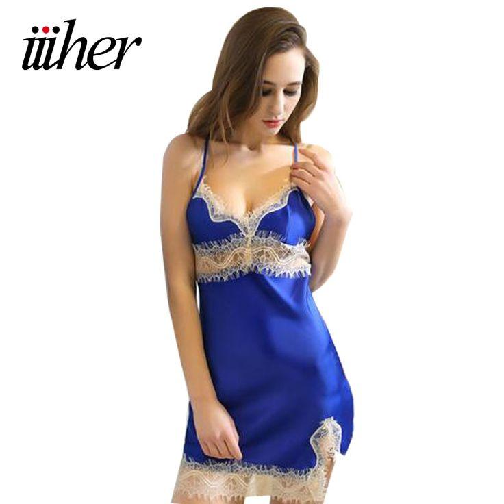 iiiher Sexy Women Silk Satin Night Dress Sleeveless Nighties Lace Sleepwear Nightgown Nightdress Nightwear For Ladies #Affiliate