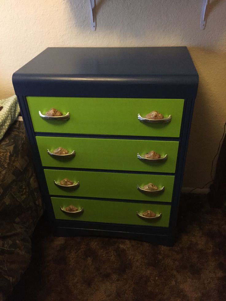 Art Deco dresser repainted Seahawks colors