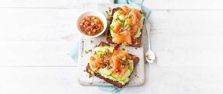 Avocado and smoked salmon toasts – a recipe that's bound to get you out of bed in the morning. Creamy avocado and delicious smoked salmon feel like an indulgence, but this dish comes in at under 300 calories meaning you can have a little bit of luxury any day of the week.
