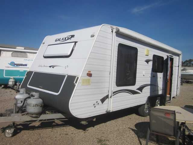 """Any Reasonable Offer Considered Caravan Stock Take Clearance Sale !  2007 Galaxy Starion 19'6"""" internal measurements 21'5"""" external....Dual Axle.....Full Annnexe.....Roll Out Awning.......Full rear bathroom with top loader washing machine....central kitchen/dine area includes range-hood....microwave....4 plate cook-top 1 electric 3 gas with grill.....3 way fridge....R/C rooftop air conditioning.....Cual hot water system.....New TV.....Radio/DVD Player.....Front island ..."""