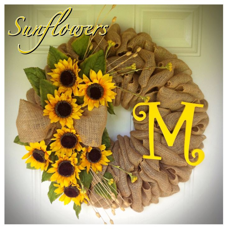 Natural Burlap Sunflower Wreath with painted wooden letter Perfect for the summer!