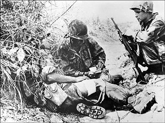 French soldiers take a bit of rest after having lead a counter attack, 02 April 1954. Few weeks later the entranched basin of Dien Bien Phu will fall to the Viet Minh 08 May 1954 after a bloody 55-day siege. Pin by Paolo Marzioli