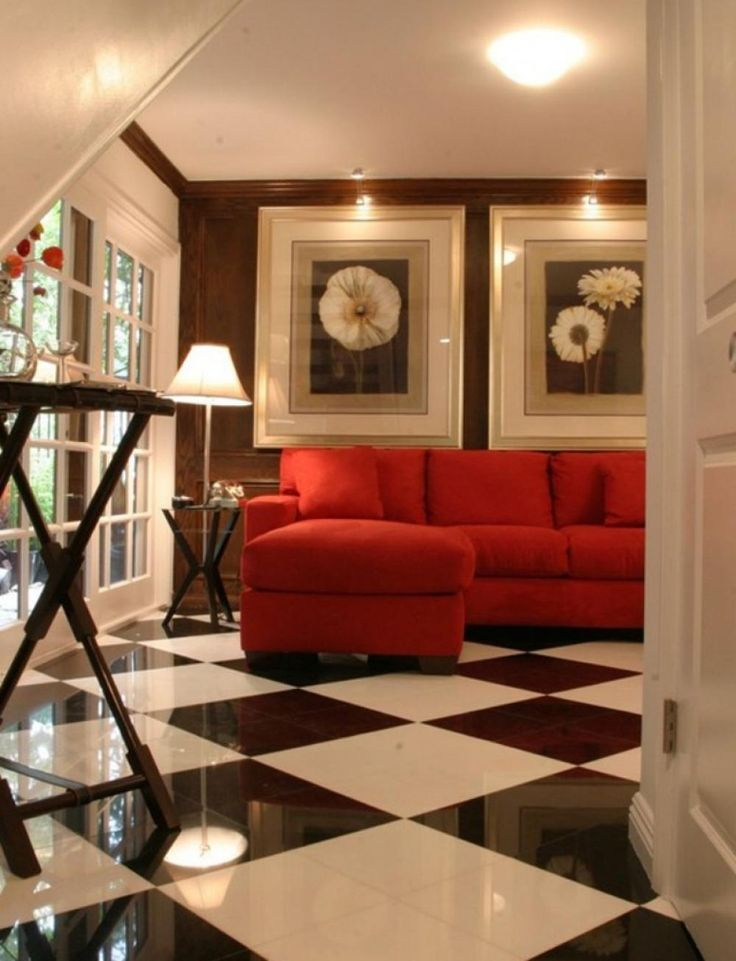living room decorating ideas red and black%0A Drama  contemporary  family room  Los Angeles  Tracy Murdock Allied  ASID  Black and white floor tiles