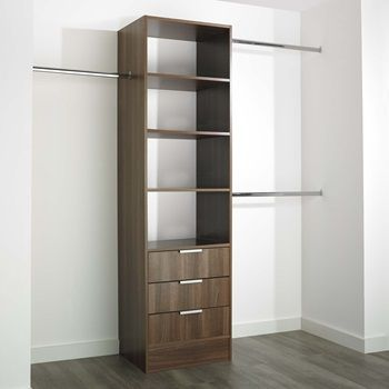 This wide Tower Unit with 3 Drawers is available in thirteen different finishes. It is 600mm wide and comes with two 2.5m long hanger bars which can be cut down. Its' sturdy 18mm construction combined with soft close drawers and solid 8mm bases ensures quality while still being straightforward to assemble.