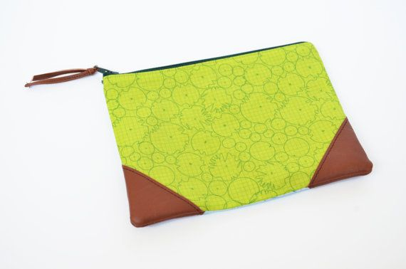 Fabric Pouch with Leather Trim Accents - Architextures Fabric