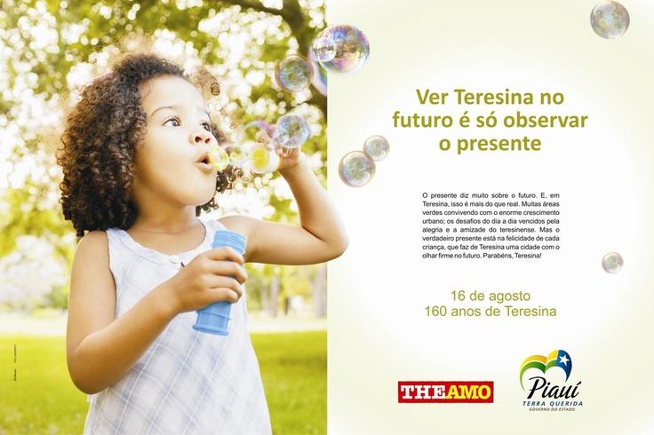 Peça: Página Dupla de Revista; Campanha: Teresina 160 Anos; Cliente: Governo do Estado do Piauí