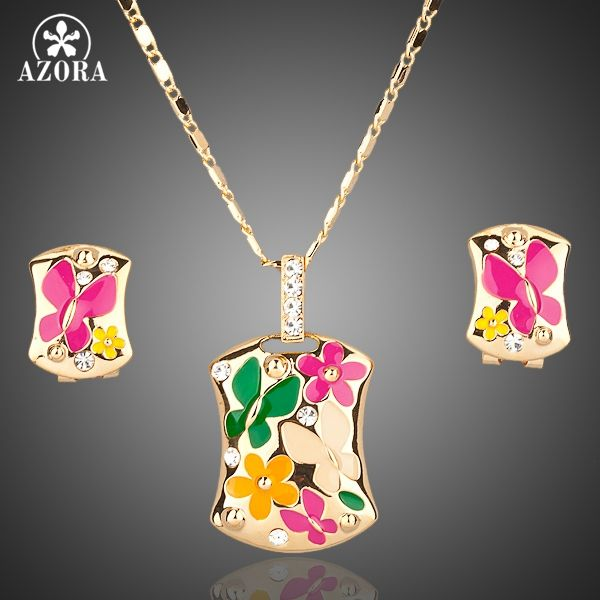 Gold Plated Multicolour Flower Clip Earrings and Pendant Necklace Jewelry Sets TG0002