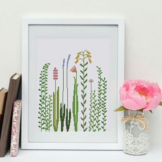 Beautiful wildflower and grass cross stitch pattern by ThuHaDesign