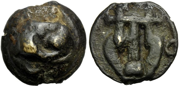 Umbria, Tuder, Cast Semis, c. 220-200 BC; AR (g 23,37; mm 33; h 12); Sleeping dog; above, [TVTERE], Rv. Lyre; on r., C. HNItaly 46; ICC 223 var (reverse letter). Very rare, dark patina, about extremely fine.