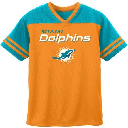 NFL Miami Dolphins Youth Short Sleeve Graphic Tee, Boy's, Size: XS, Orange