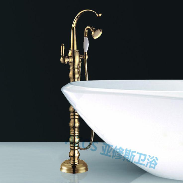 Bathtub Faucets Luxury Golden Gold Nickle Water Mixers Floor Stand Hand  Hold Bathroom Shower Sauna Kit