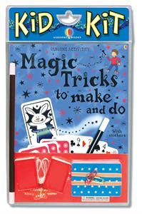 "The Amazing Magic Tricks book includes step-by-step instructions for simple magic tricks such as ""Unburstable Balloon"", ""Magic Knot"" and ""Jumping Rubber Band"". Kid Kit includes: Amazing Magic Tricks Book, Magic Wand, Deck of cards, Cotton rope, Matchboxes and string, 2 balloons, 2 paper clips, 2 rubber bands. Plus: Over 180 stickers in the book for use with other suggested magic projects and instructions for making a Magician's Black Top... $16.99"
