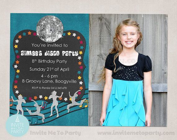 Disco Party Invitation / Dance Invitation Aqua by InviteMe2Party, $15.00