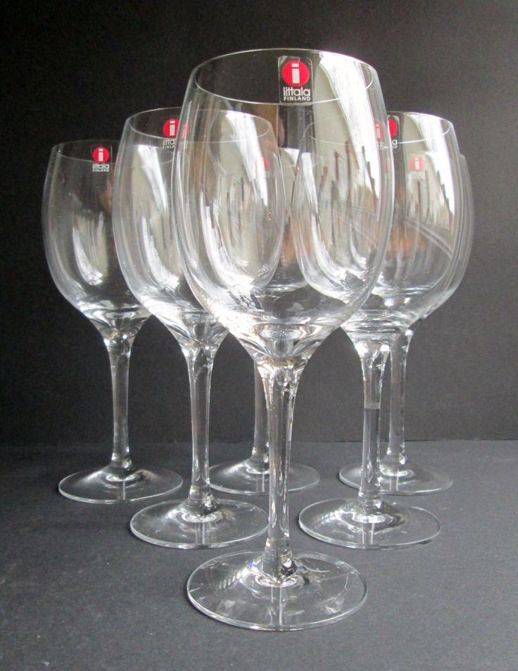 Set of 6 Kolibri  (Hummingbird)  red wine (punaviini) glasses designed in 1983 by Timo Sarpaneva for Iittala , Finland, in original carton by SCALDESIGN on Etsy