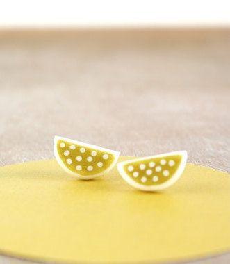Half moon polka dot earring studs dainty by debroervandevogel