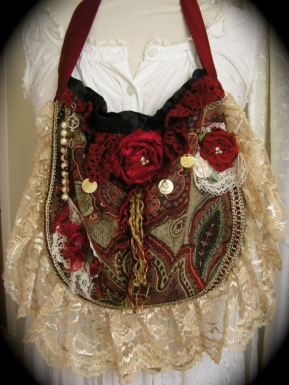Red Tapestry Bag embellished with beads and lace handmade by Dede