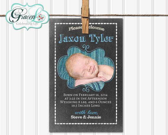 Baby Announcement Boy Baby Announcement by GracenLDesigns on Etsy
