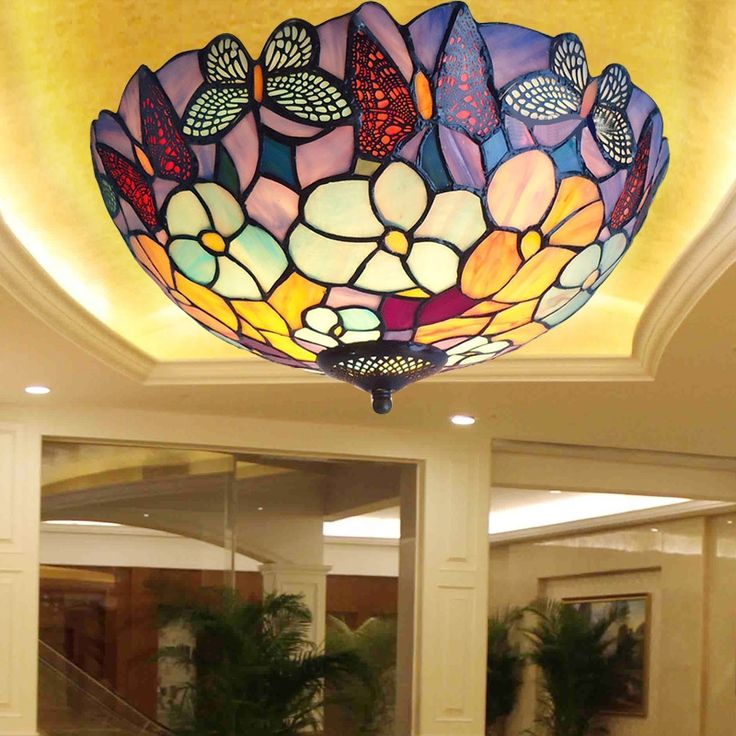 86.90$  Watch here - http://alibej.worldwells.pw/go.php?t=32787975192 - Mediterranean Sea stained glass tiffany European style Baroque lilac Ceiling lights 30 40 50cm LED bulbs lamp bedroom lighting
