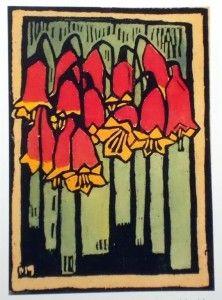 Early Margaret Preston print of Christmas bells (Australian wildflowers)  linocut print, hand coloured