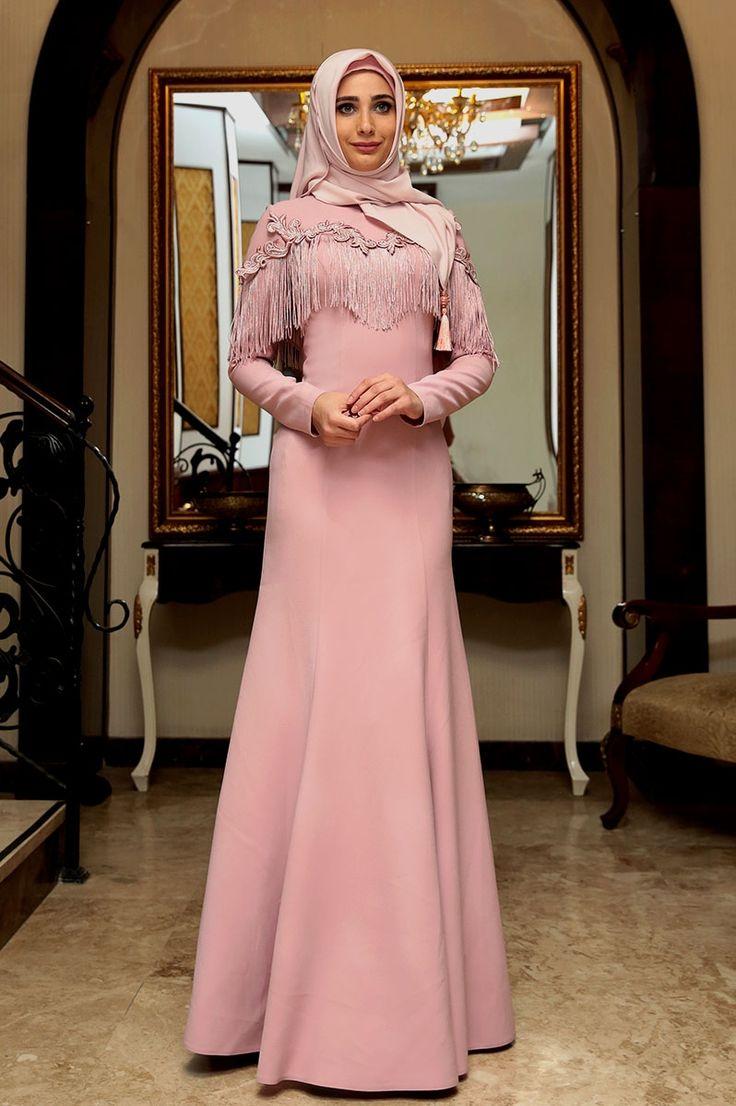 Coral Hijab Evening Wear.