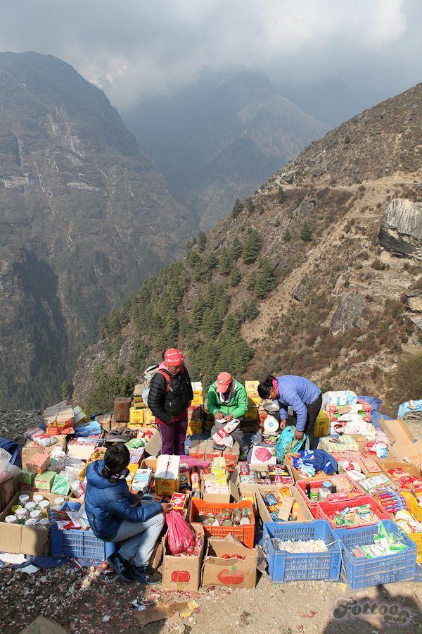 Saturday Market fair in Namche Bazar, Himalayas.