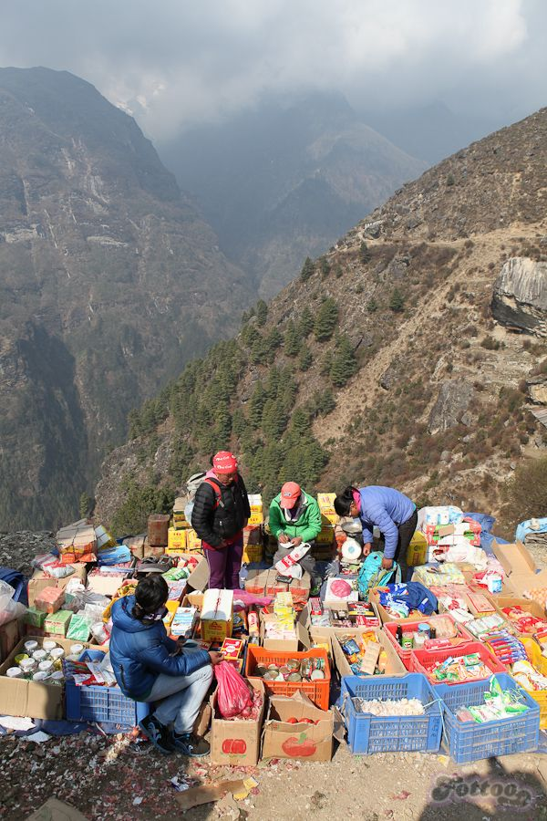 Saturday Market fair in Namche Bazar, Himalayas.