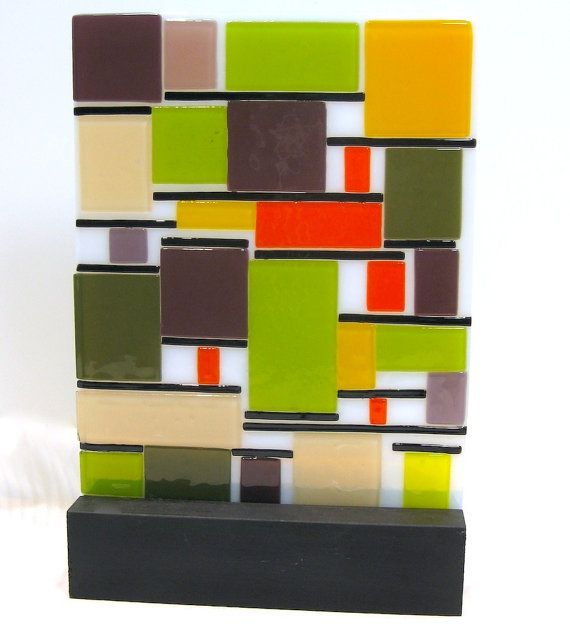 Mid Century Modern Art Glass Color Block by coastalartglass, $195.00