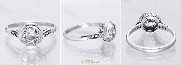 Renowacja platynowego pierścionka z diamentem - efekt końcowy.