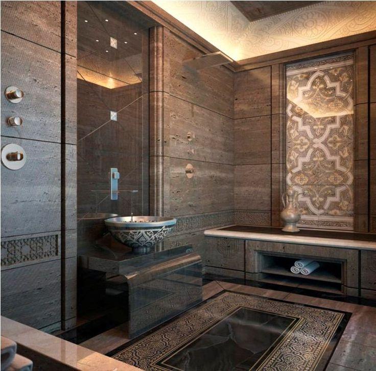 salle de bains marocaine, carrelage mural marron foncé à motifs orientaux et vasque à poser assortie
