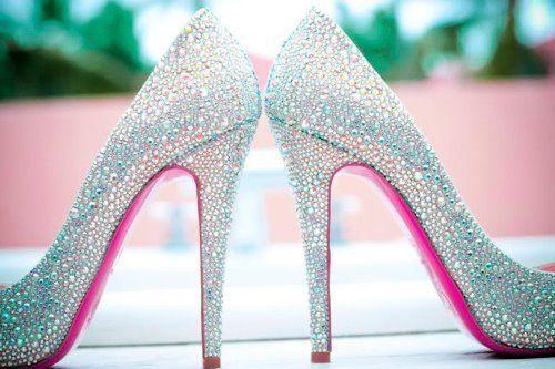 Platinum Glitter High Heels with Bright Pink Underside!!! <3