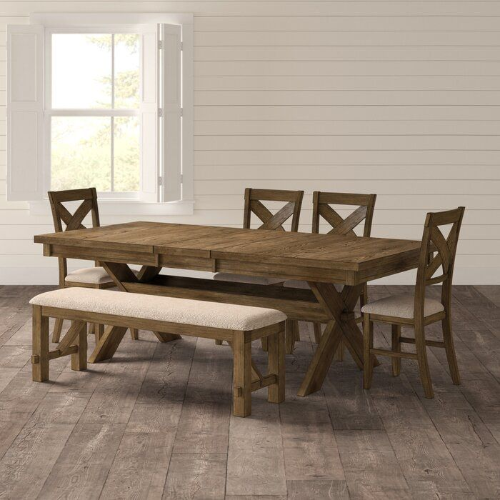 Poe 6 Piece Extendable Dining Set Reviews Birch Lane Modern Farmhouse Dining Room Farmhouse Dining Set Dining Table With Bench