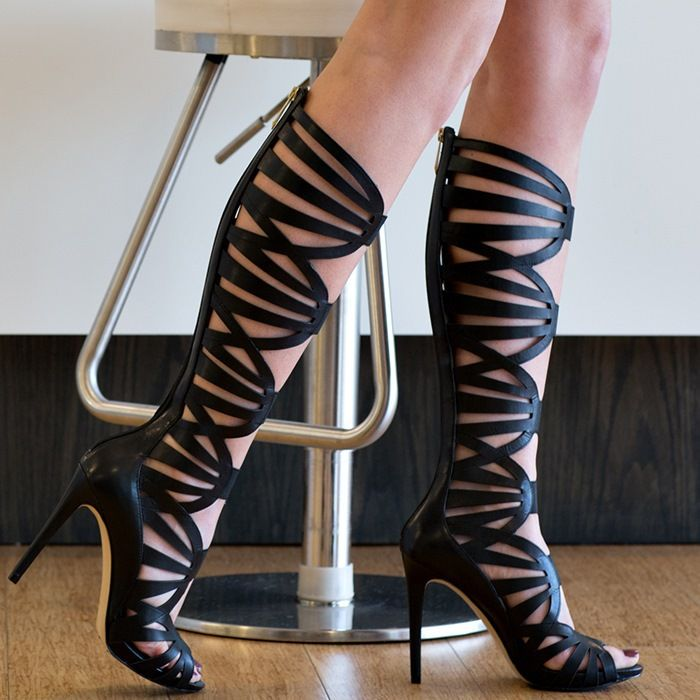 For Cheap For Sale 2018 New Cheap Price Plus Size High Heel Hollow Out Mid Calf Sandals - BLACK xaGioBSJ