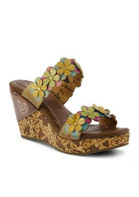 LrsquoArtiste by Spring Step Yellow Multi Aura Sandal Wedge
