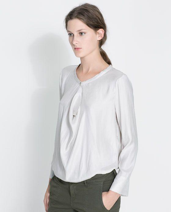 Zara.com DRAPED NECK BLOUSE Ref. 1639/151 59.90 USD