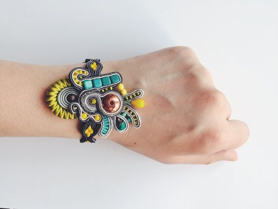 handmade jewelry soutache bracelet embroidered lemon and lime statement bracelet boho jewelry unique design perfect gift