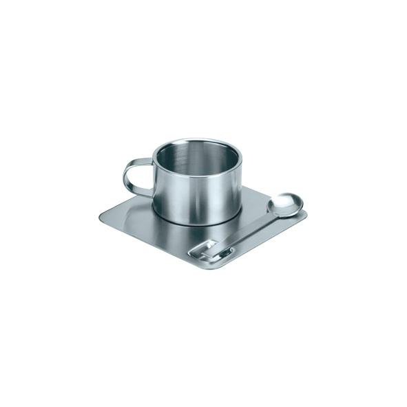 COD.TT025 Coffe Set. 100 % Acero Inoxidable. Incluye taza, plato y cuchara. Presentación en elegante caja de regalo plateada. Capacidad: 110 CC.