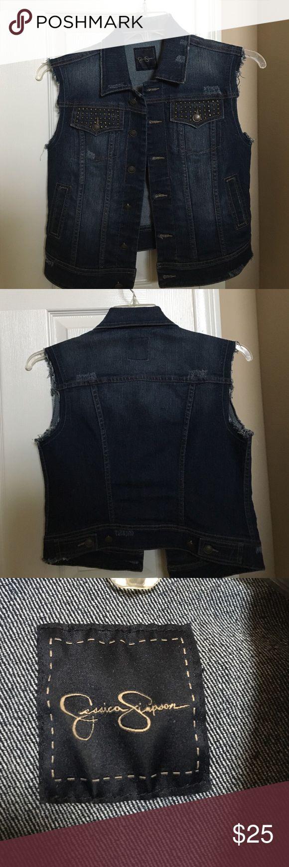 Jessica Simpson Denim Vest with studded pockets Blue denim vest Jessica Simpson Jessica Simpson Jackets & Coats Vests