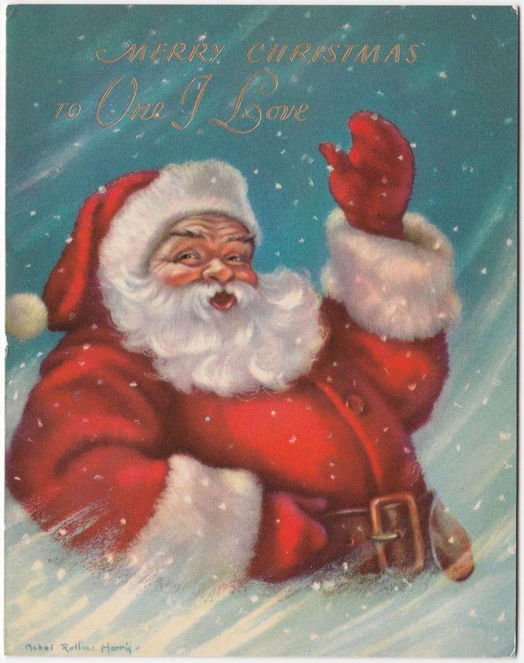 Vintage Greeting Card Christmas Santa Claus Artist Signed Mabel Rollins Harris | eBay