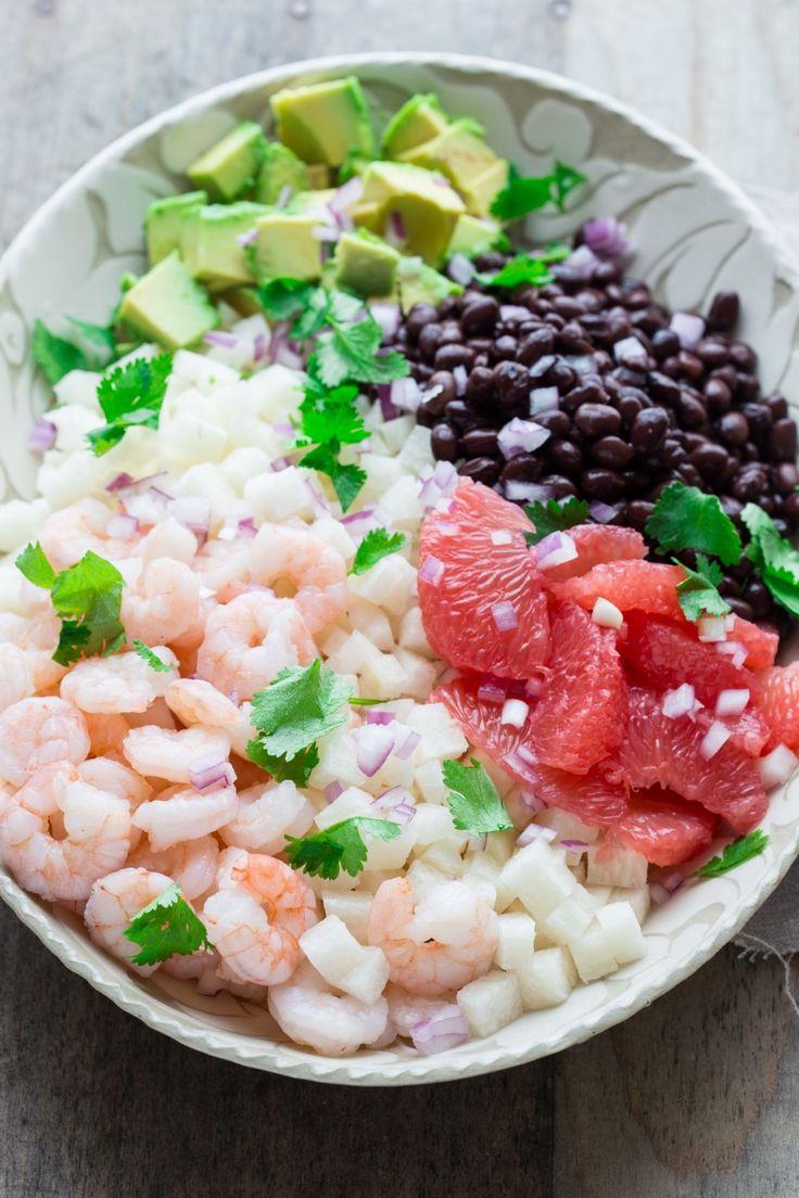 ... jicama, shrimp, grapefruit, avocado, cilantro, red onion, lime, olive