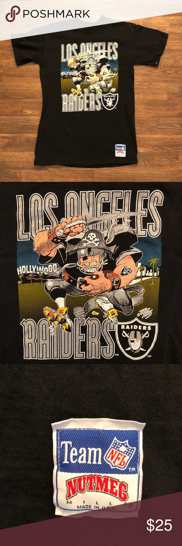 LA Raiders Cartoon NFL T-Shirt sz. Medium Good condition States on the shirt size XL but compared it to my Hot Rod shirt, and it compares to a size Medium. If you need measurements let me know. No stains, rips, or dirt marks. Shirts Tees - Short Sleeve