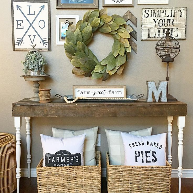 Living room console table. Farmhouse style! See this Instagram photo by @thedowntownaly • 440 likes