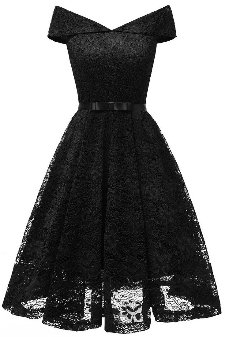 LaceShe Women's Vintage Off Shoulder Lace Dress