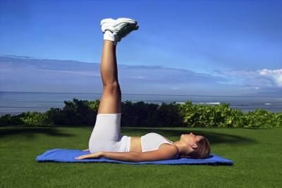 Lying Straight leg raise - abs and hips