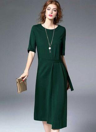 Повседневное платье из полиэстра длины миди цвета сплошного с средними рукавами