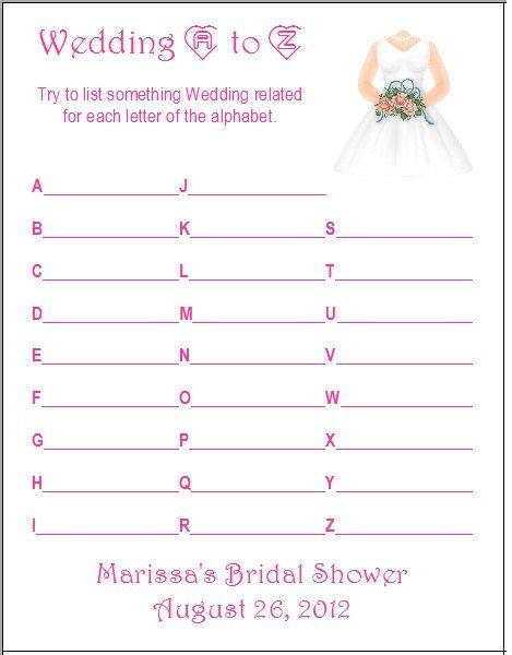 24 Personalized WEDDING AZ Bridal Shower Game by