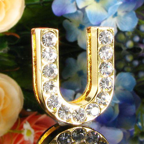 Pandantiv litera U placat cu aur galben 18k cu diamante