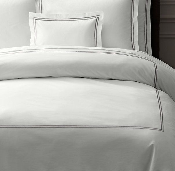 Final choice duvet shams italian hotel satin stitch white for Duvet covers restoration hardware