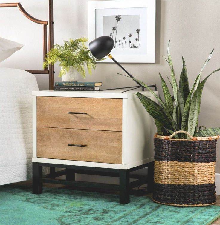 Details About Stylish Two Drawer Tri Tone Nightstand Contemporary Bedroom Furniture New